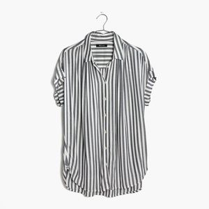 Madwell Central Drapey Shirt Blue Stripe, Size S